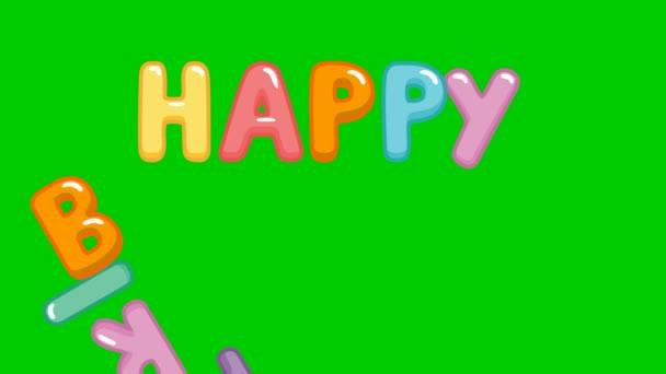 Animált szöveg boldog születésnapot. Felirat a színes betűkből. Vektor illusztráció elszigetelt fehér háttér.