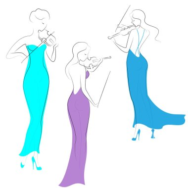 Silhouettes of three beautiful ladies in evening long dresses. Girls are slim and elegant. Women play violins, they are musicians, violinists. Vector illustration