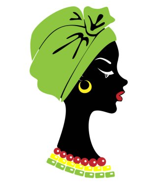 Head profile of a cute lady. On the head of an African American girl hung a bright handkerchief, turban. The woman is beautiful and stylish. Vector illustration.