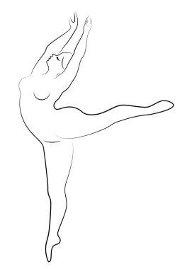 Silhouette of a cute lady, she is dancing ballet. The woman has an overweight body. Girl is plump. Woman ballerina, gymnast. Vector illustration