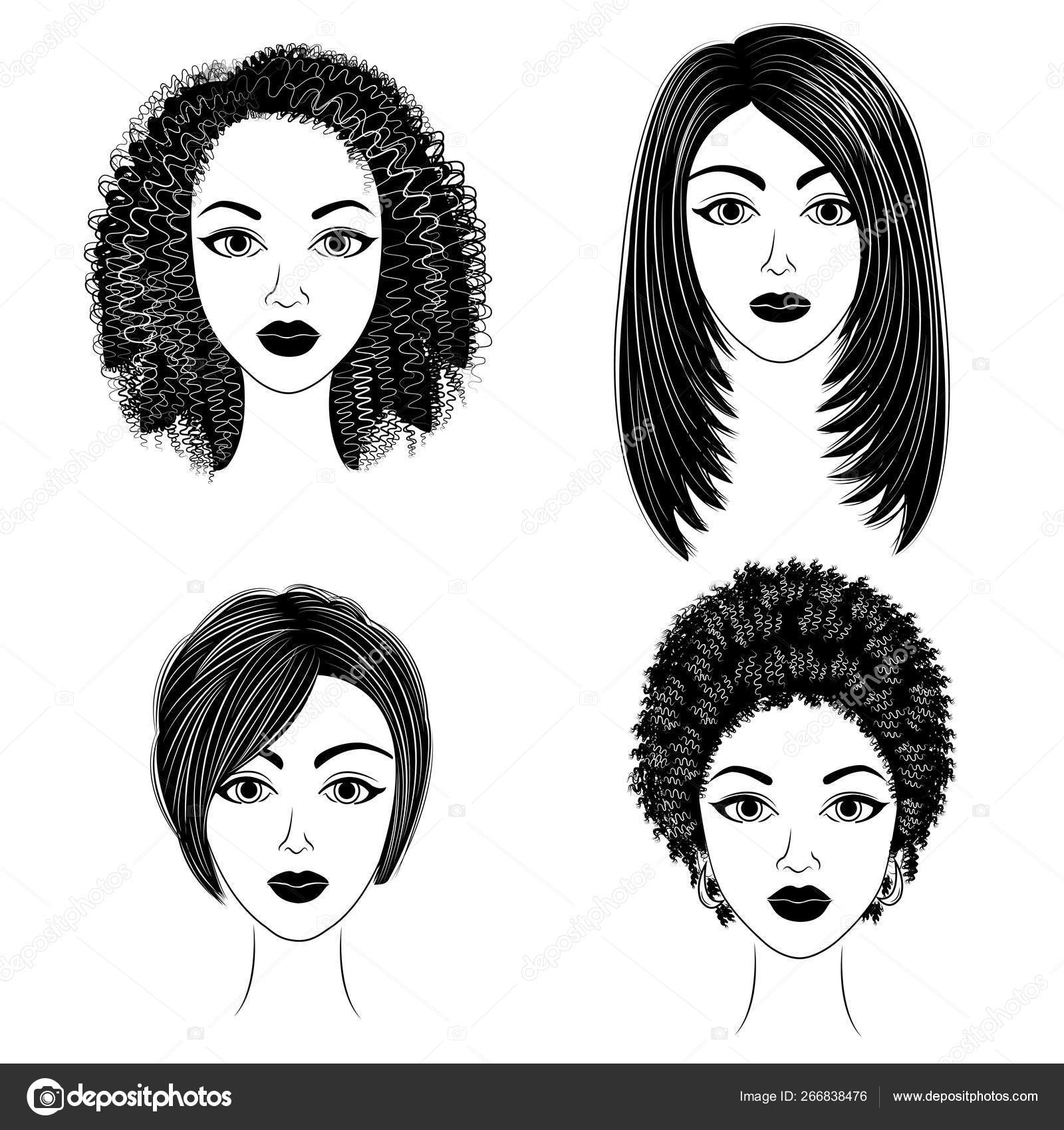 Silhouettes Of Heads Of The Lovely Ladies Collection Girls Show Hairstyles For Medium And Short Hair Women Are Beautiful And Stylish Vector Illustration Vector Image By C Pavlenko3014 Gmail Com Vector Stock