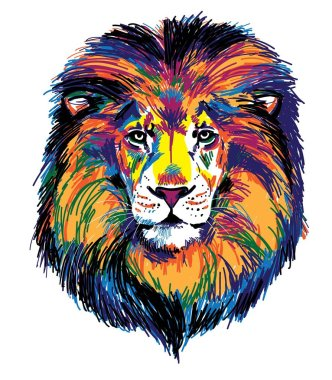 The head of a lion. Multicolored pop art pattern. Bright print.