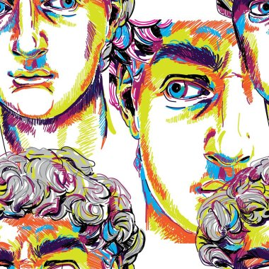 Seamless pattern with greek sculptures. Men's faces. Stylish colorful background. pop art, modern antiquity.