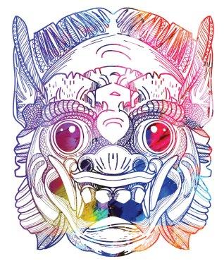 Demon mask Thailand. Logo, symbol. Meditative coloring antistress.