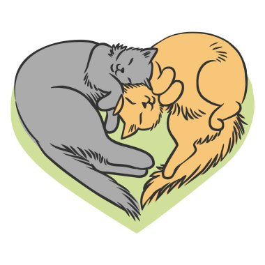 Cats lying in the shape of heart. Vector hand drawn illustration clip art vector