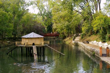 duck house on the lake of Infante Don Pedro park in Aveiro, Portugal. Europe