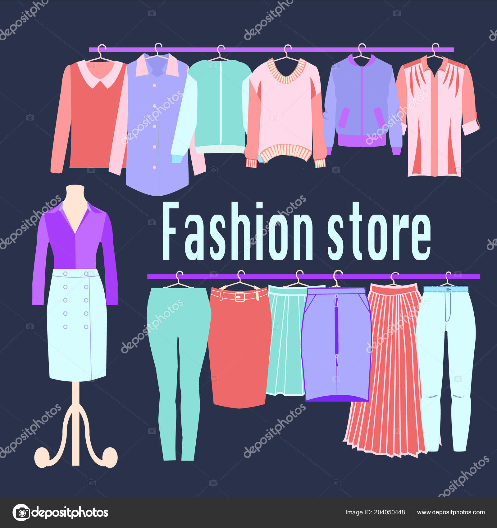 Background Boutique Design Clothing Store Background Boutique Fashion Store Flat Design Vector Illustration Stock Vector C Margolana 204050448