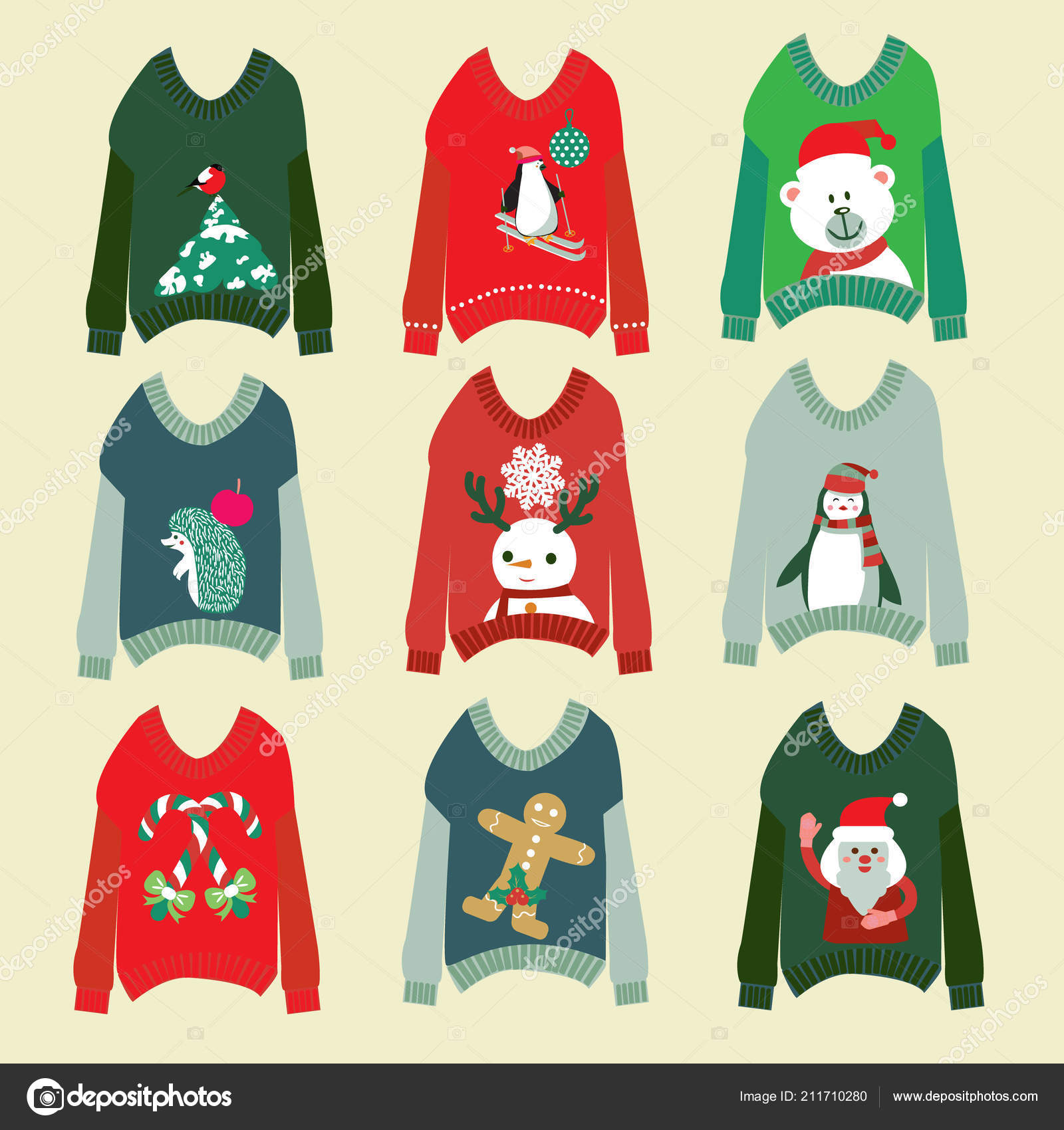 70e05b46c ugly christmas sweaters set sweater party collection — Stock Vector ...