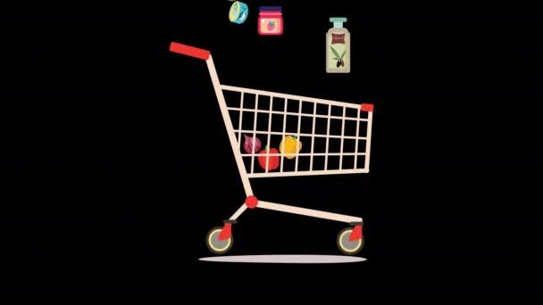 Nákupní košík plný potravinářských výrobků. Obchod s potravinami 2D animace.