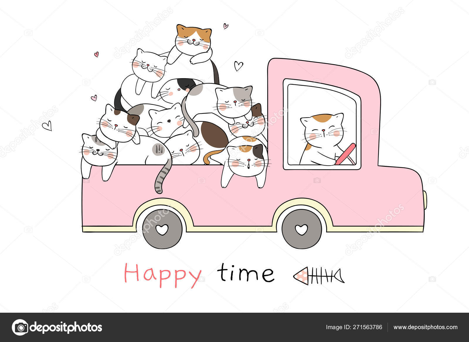 Draw Cute Cats Sleeping Pink Pastel Car Text Happy Time Stock Vector C Anchaleear 271563786