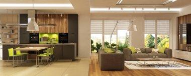 Modern Interior Kitchen Living Room