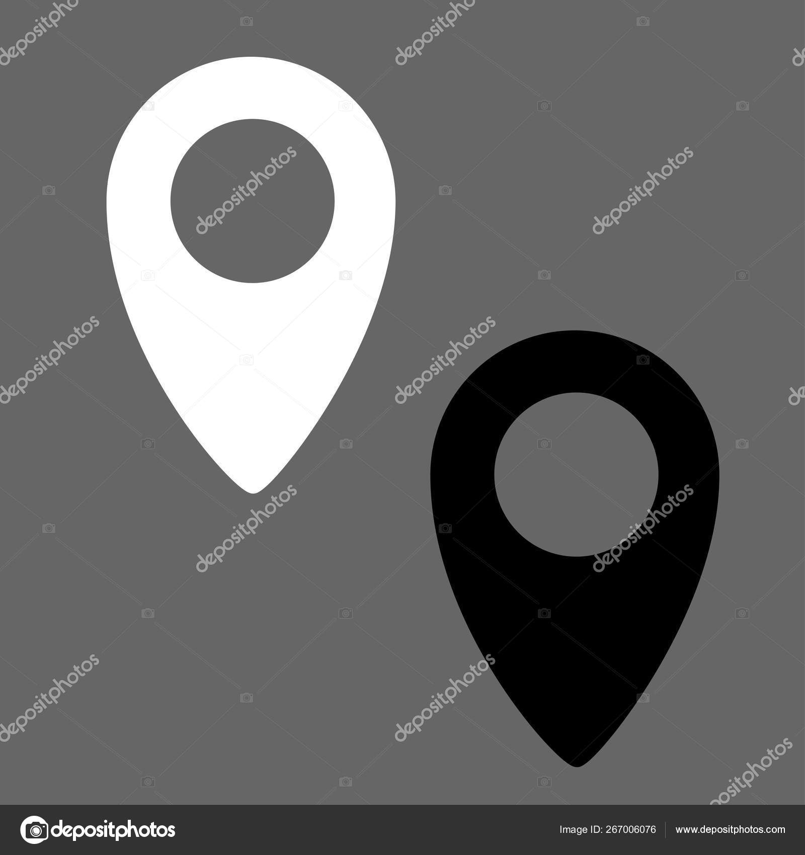 Navigation icon, white and black google map icon - vector