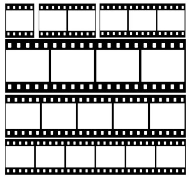 Set of film strip icons in isolate on a black background. Vector illustration.