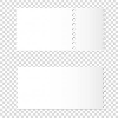 realistic mockup of detachable blank white ticket