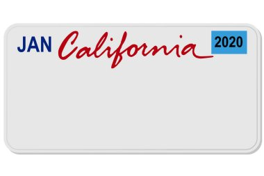 california new car digital registration plate vector