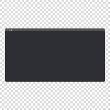 Dark theme modern blank computer window vector mockup icon