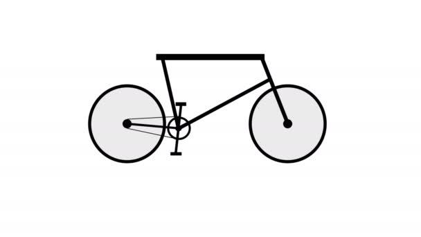 Elektrofahrrad Silhouette Bewegungsanimation, Ecologic Transportkonzept. Umweltfreundliche Mobilität 4k
