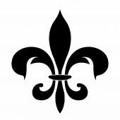 Photo lily heraldic emblem icon, vector illustration design