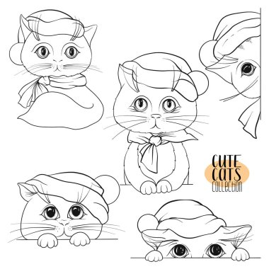 Set of cute cats with different emotions in the Santa Claus hat. Outline hand drawing.