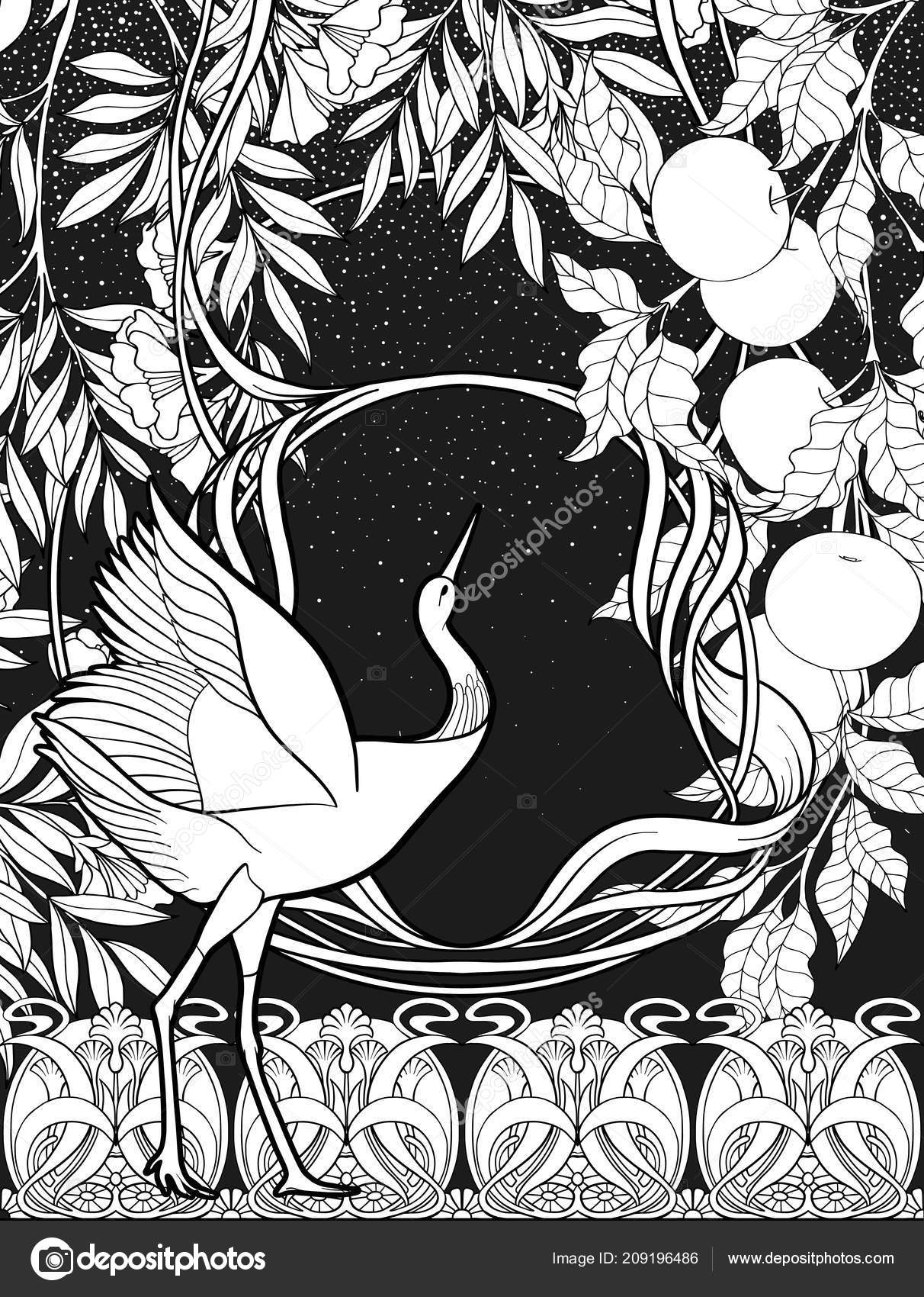 Poster background with decorative flowers and bird in art nouveau style black and white graphics vector illustration