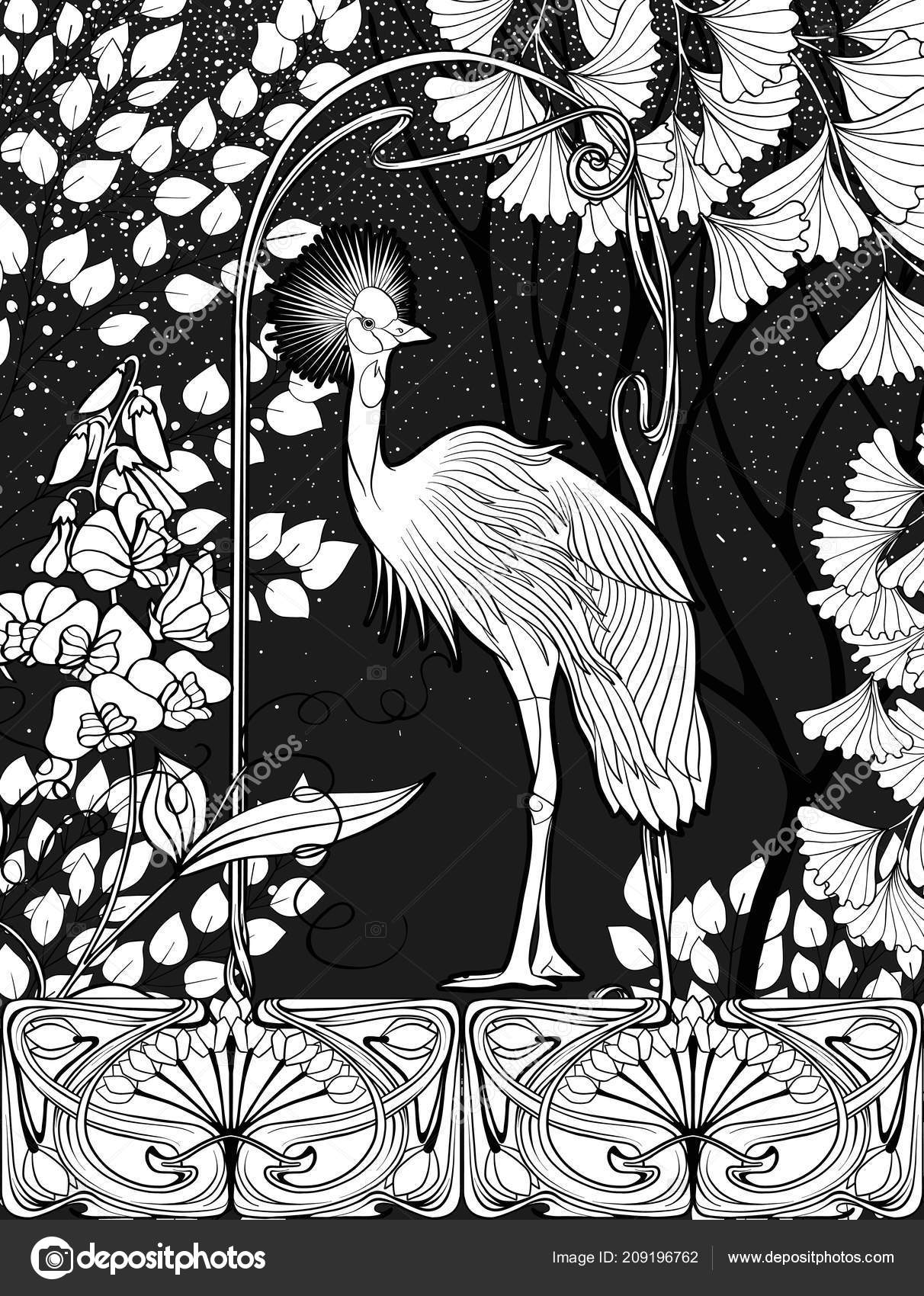 Poster background with decorative flowers and bird in art nouveau style black and white graphics vector illustration vector by elenabesedina