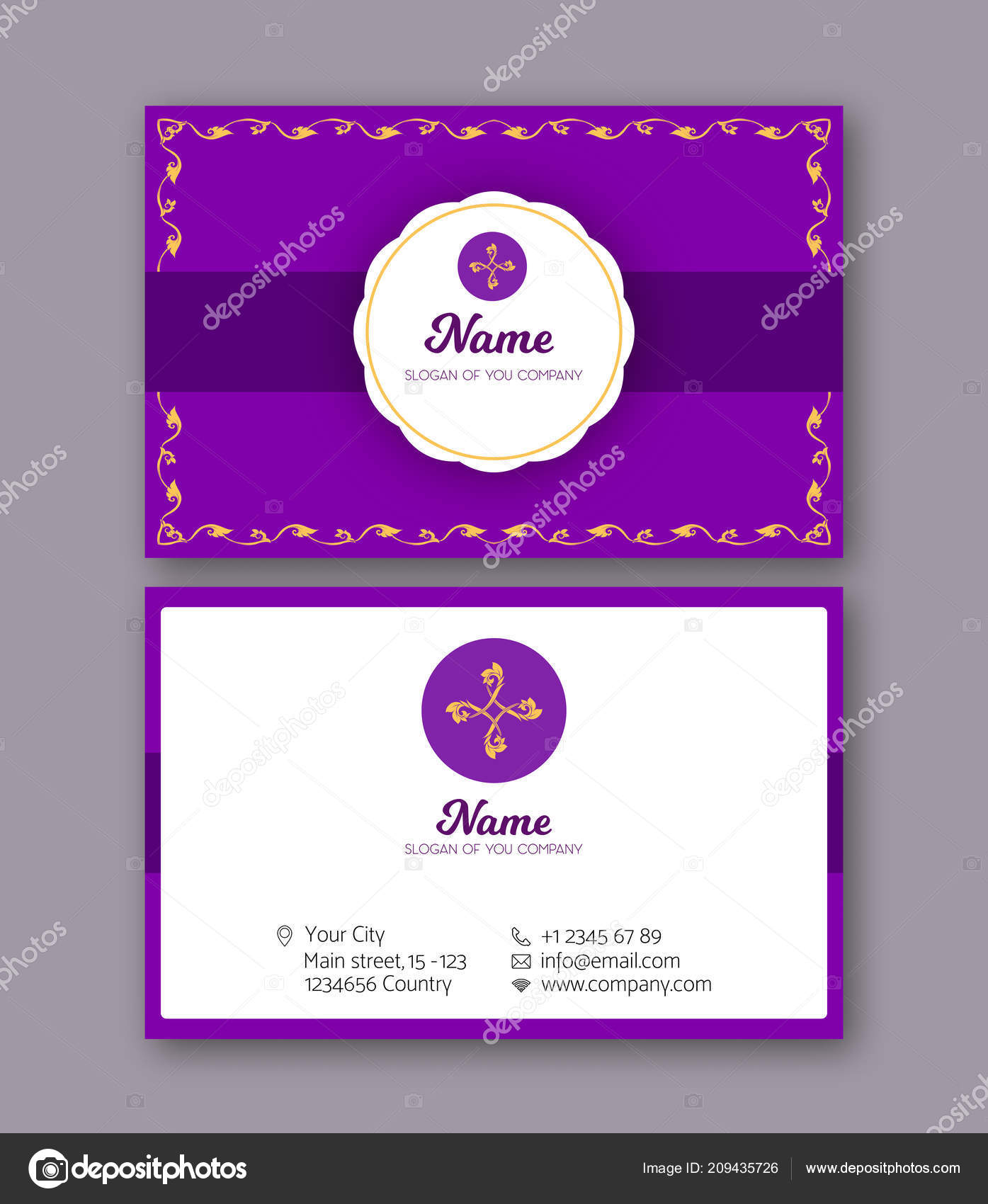 A Template For The Two Sides Of The Business Card Decorated Wi