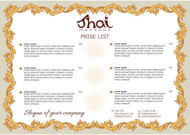 A template for the price list of a Thai massage salon decorated