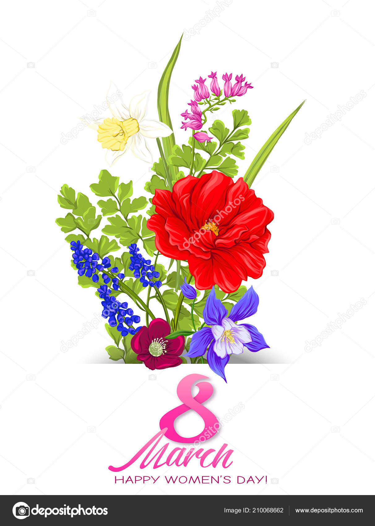 Bouquet Di Fiori Di Primavera Per 8 Marzo Illustrazione Vettoriale
