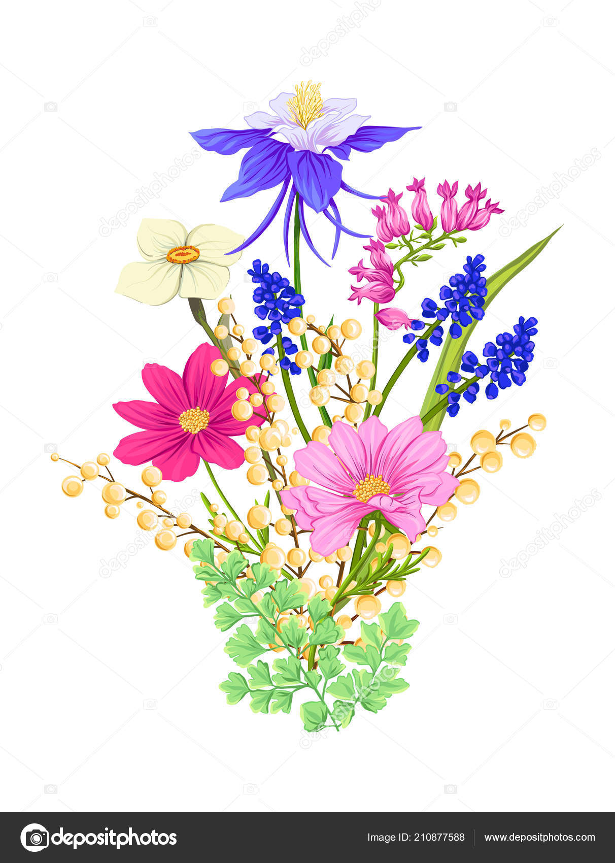 Bouquet Of Spring Flowers Colorful Realistic Vector Illustration