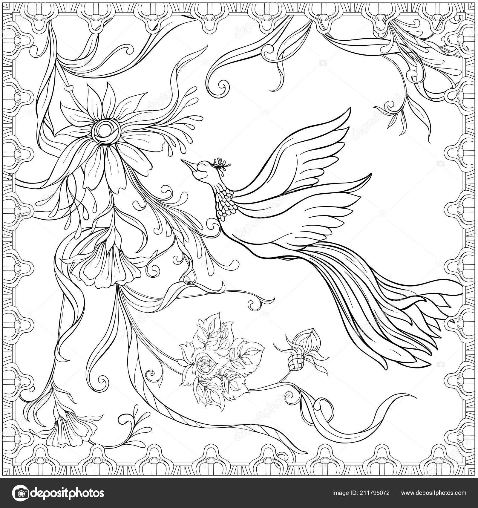 Plakat Tło Dekoracyjne Kwiaty I Ptaki W Stylu Art Nouveau