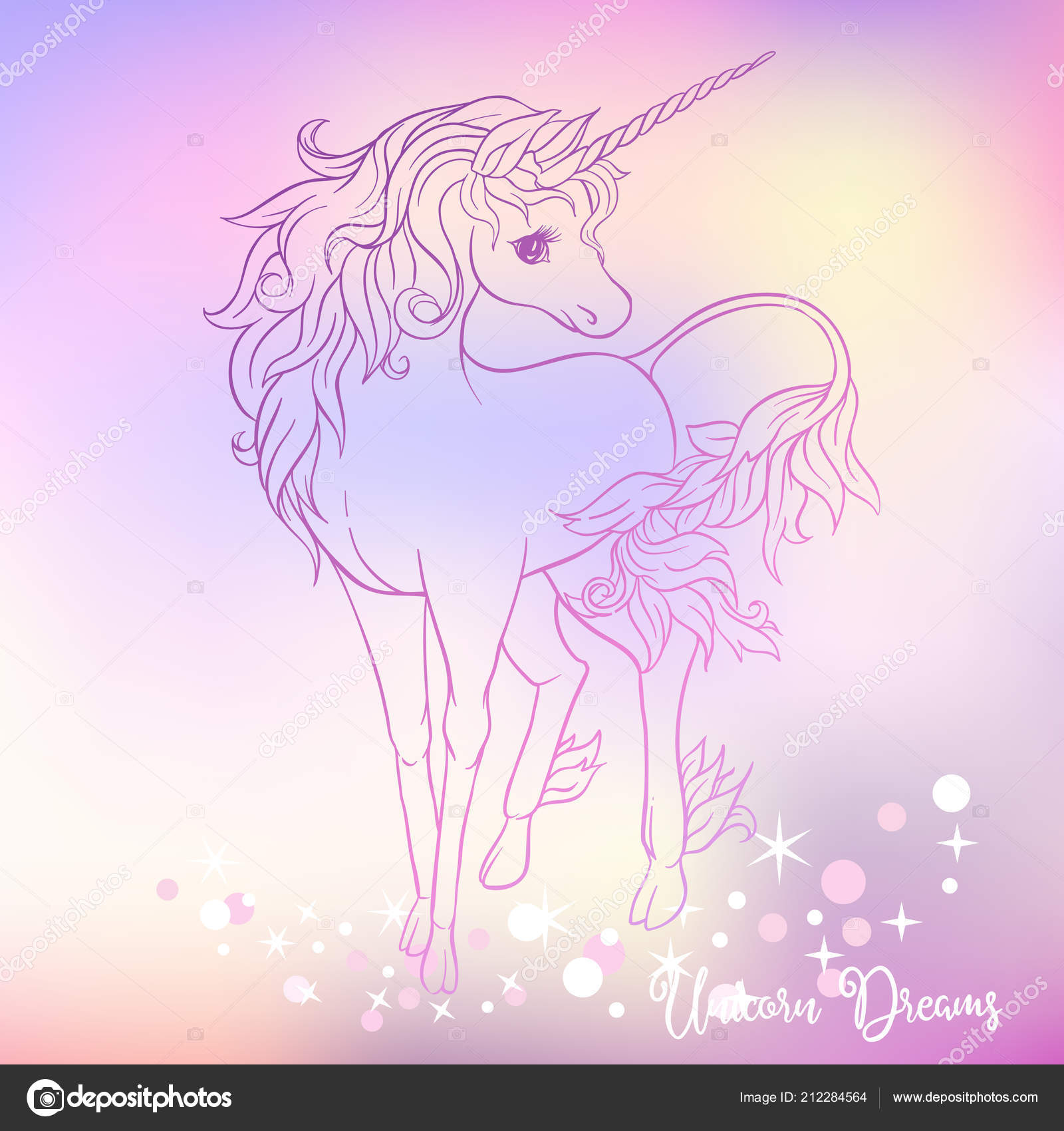 White unicorn with multycolor mane and shine stars on light ultra violet pastel colors on mesh pink blue background vector illustration outline drawing