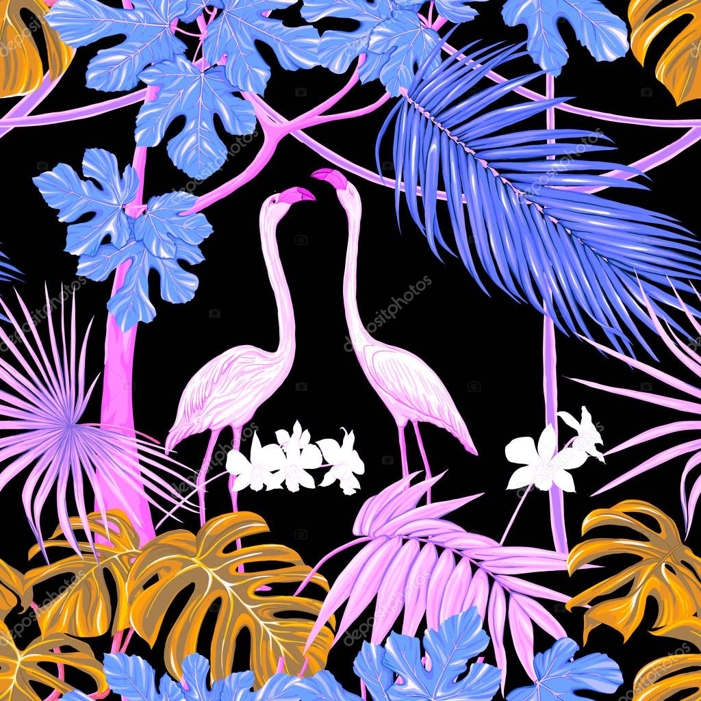 Seamless pattern, background. with tropical plants and flowers with white orchid flowers and tropical birds.