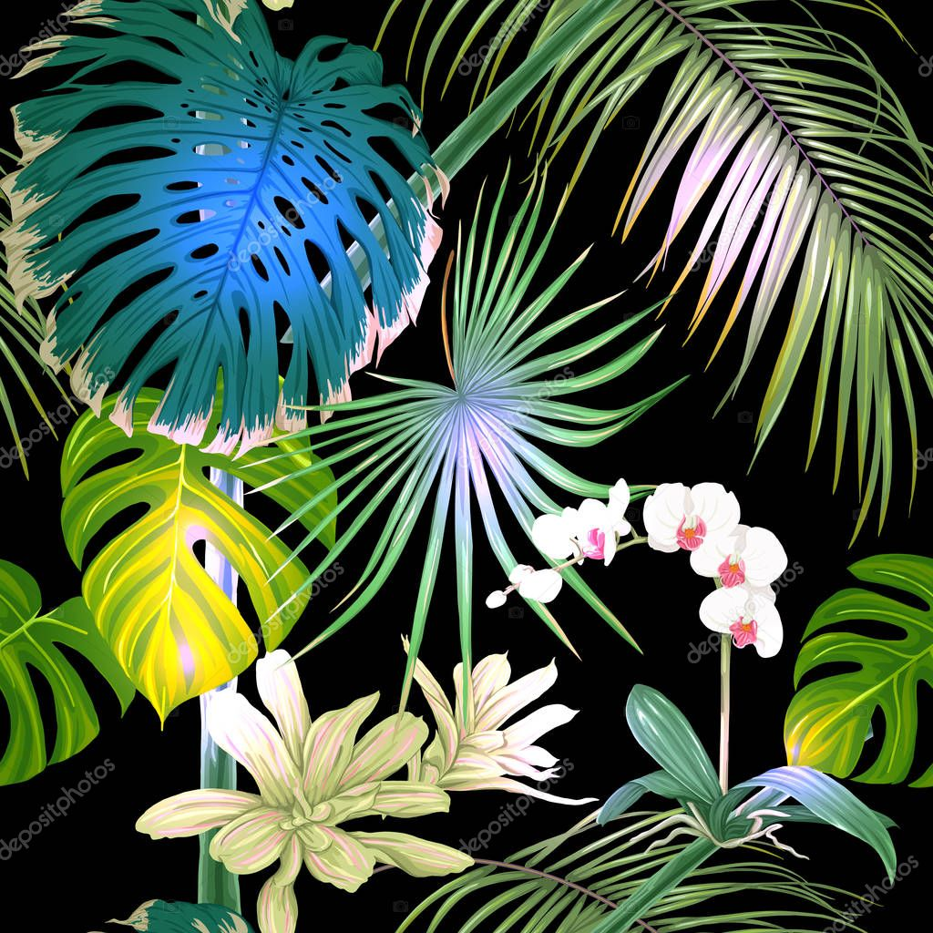 Tropical plants and flowers. Seamless pattern, background. Vector illustration.