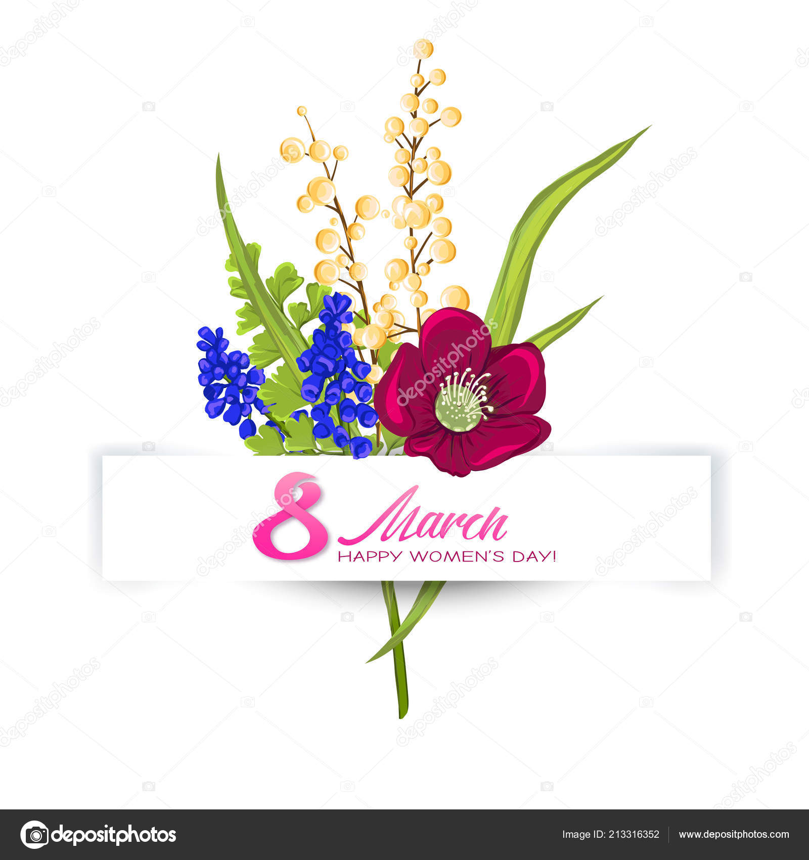 Bouquet Of Spring Flowers For 8 March Colorful Realistic Vector