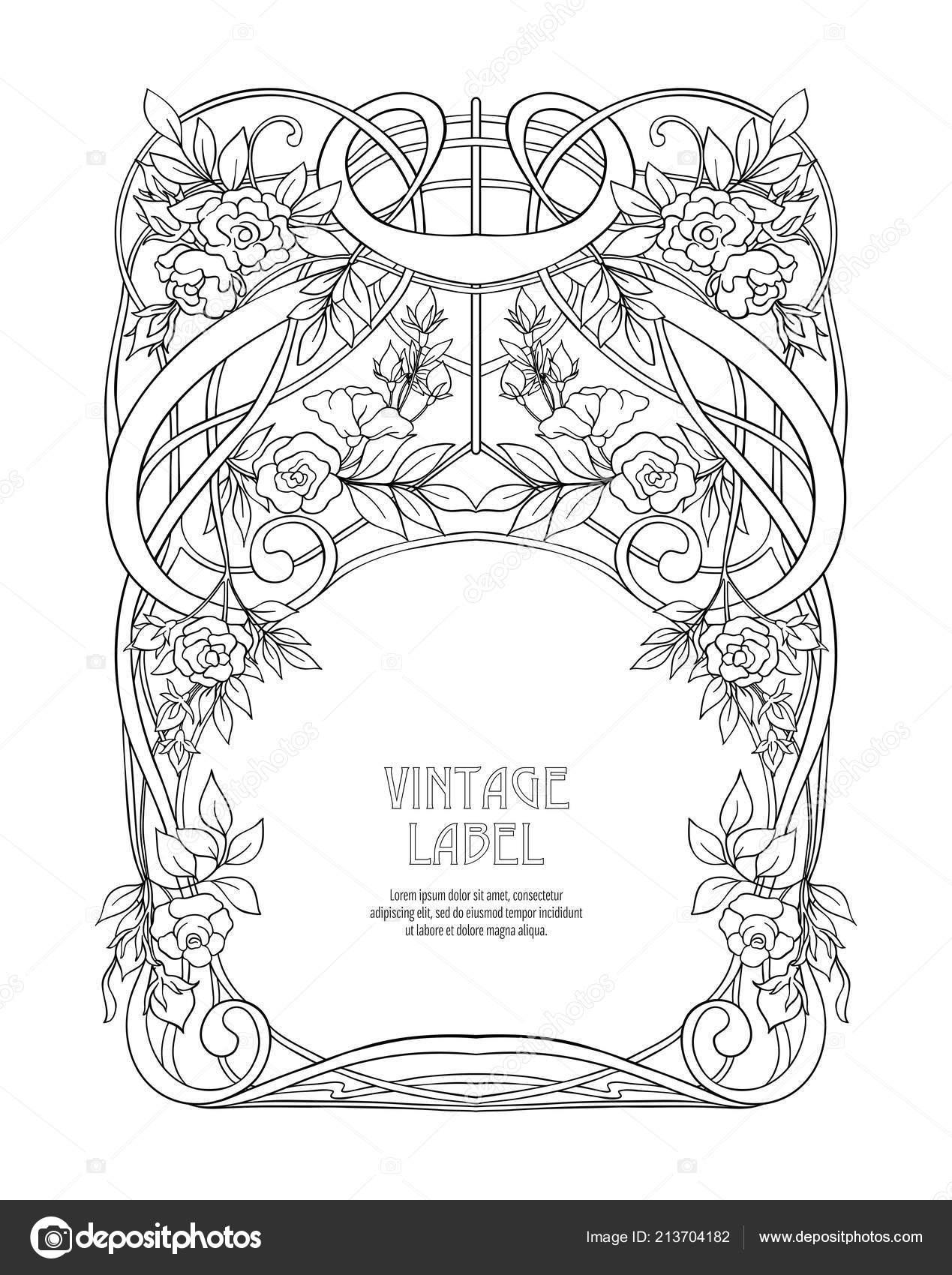 Frame Border Art Nouveau Style Place Text Vintage Old Retro — Stock ...