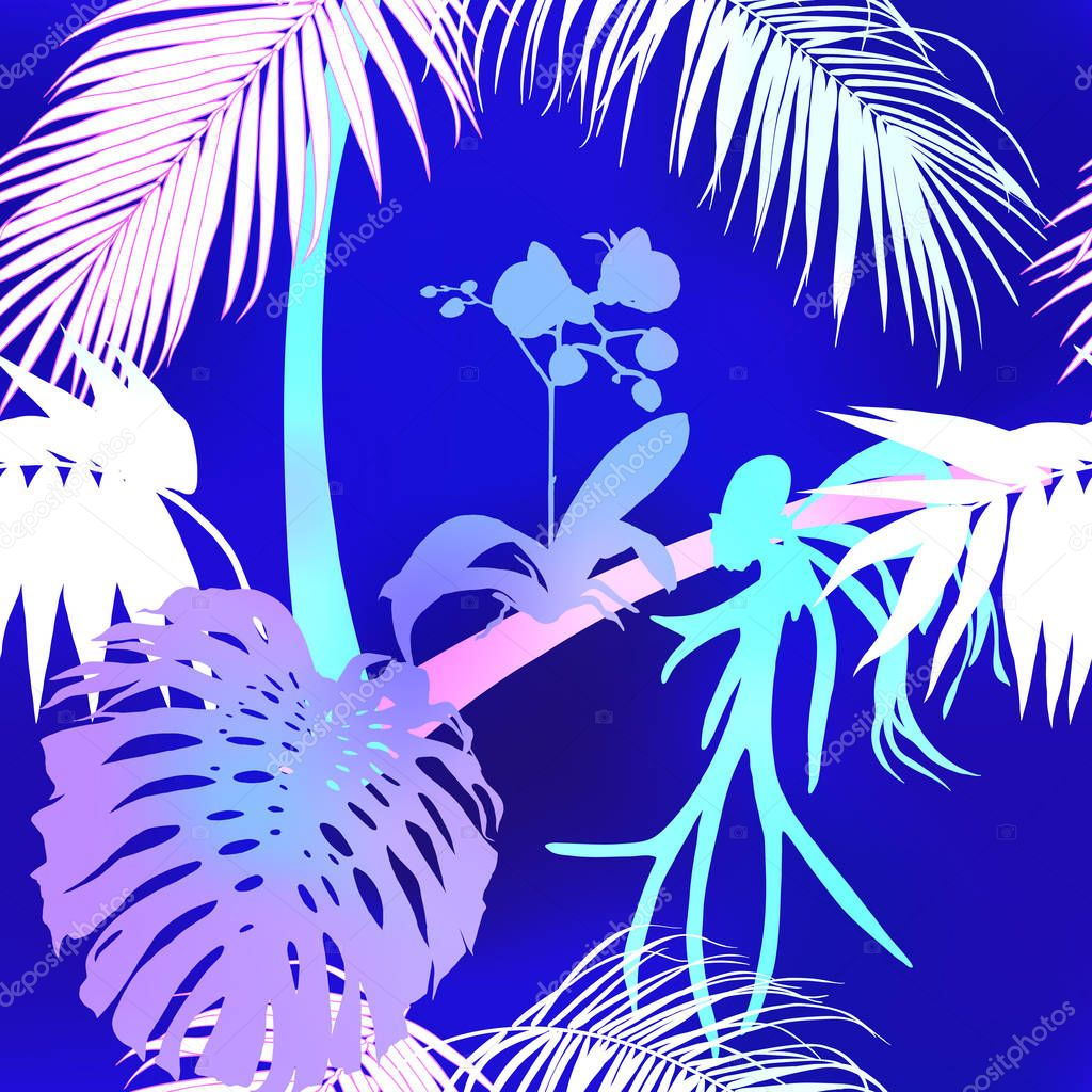 Tropical plants and white orchid flowers. Seamless pattern, background.  Colored vector illustration in neon, fluorescent colors