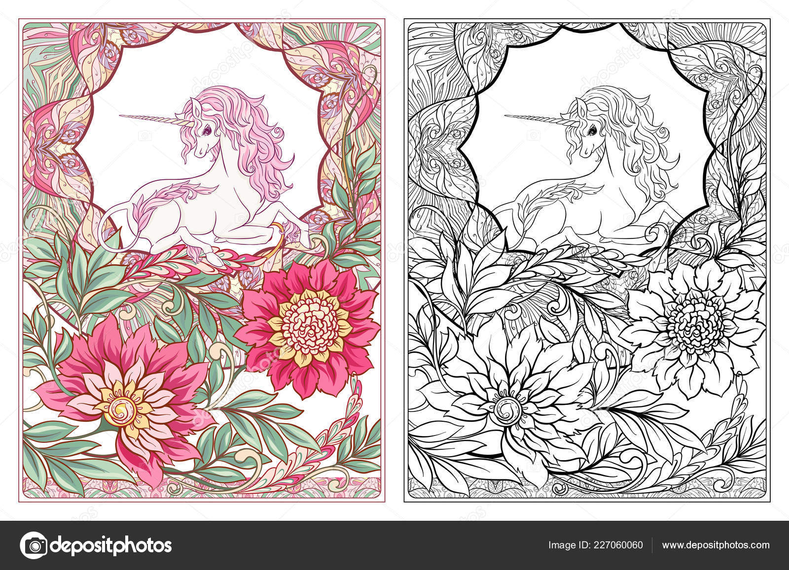 Marco Unicornio Vintage Flores Ilustracion Vector Estilo Art Nouveau