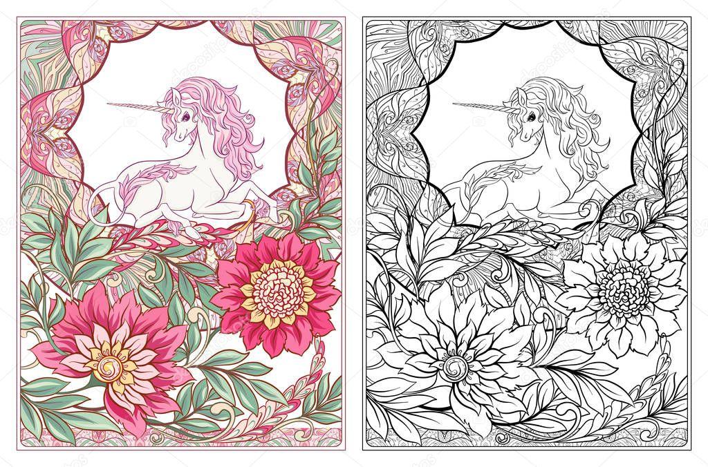 Marco Unicornio Vintage Flores Ilustración Vector Estilo Art Nouveau ...