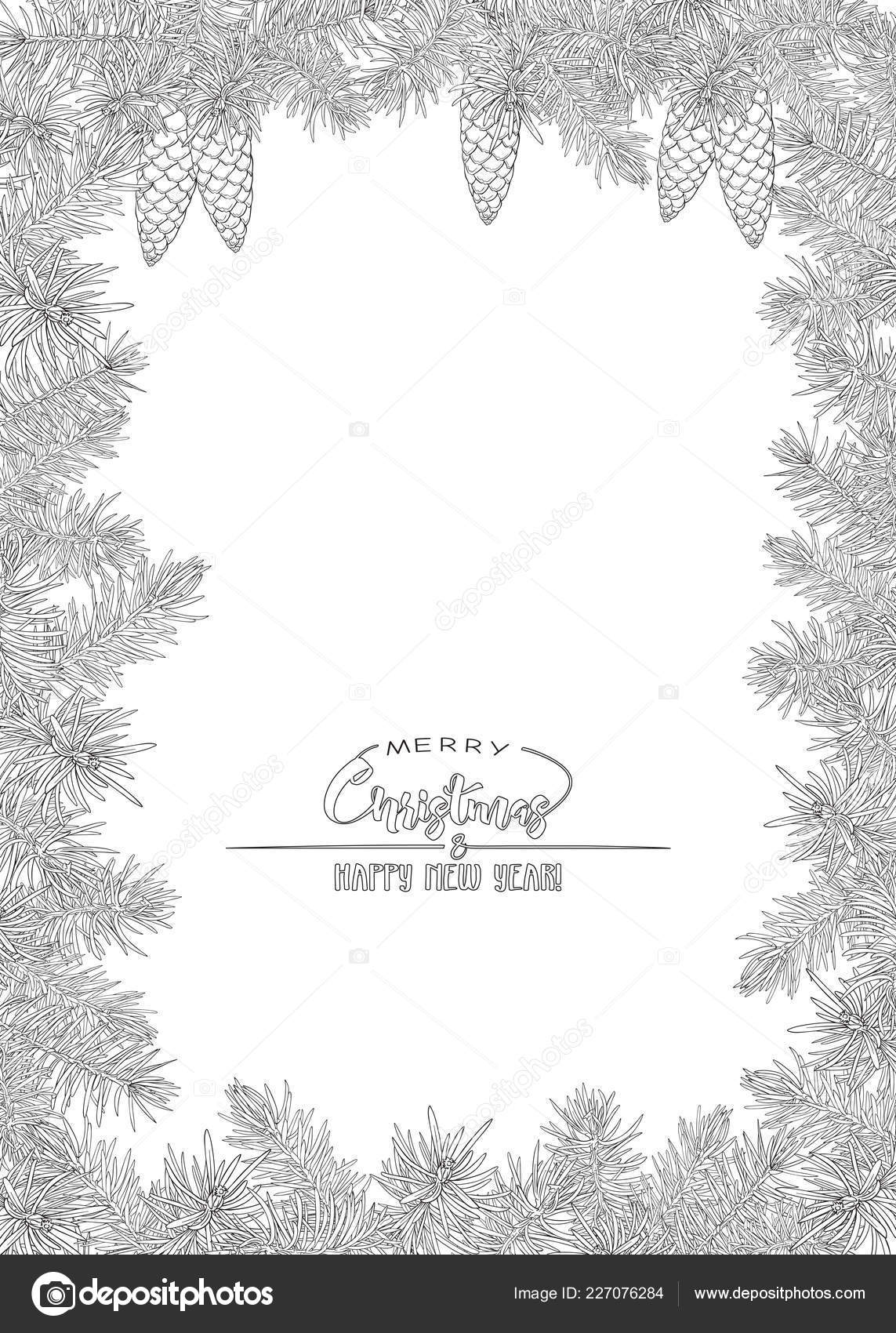 fir branches template greeting card merry christmas new year invitation stock vector