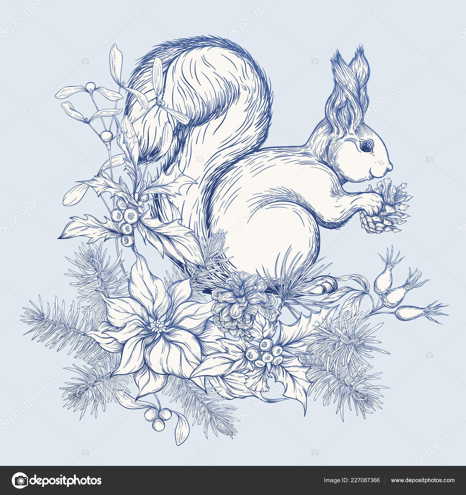 Christmas Wreath Drawing.Squirrel Eating Pine Cone Sitting Christmas Wreath Graphic