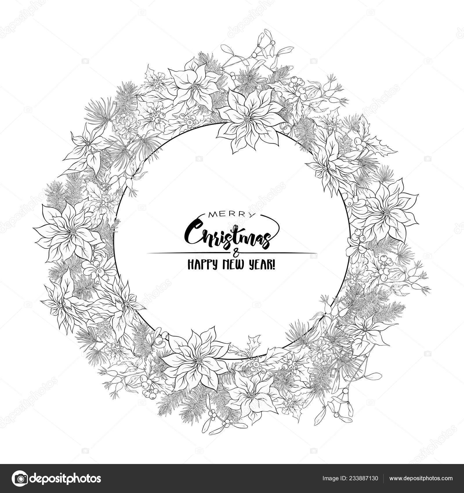 Corona Navidad Abeto Pino Flor Pascua Rosa Con Letras Feliz Vector