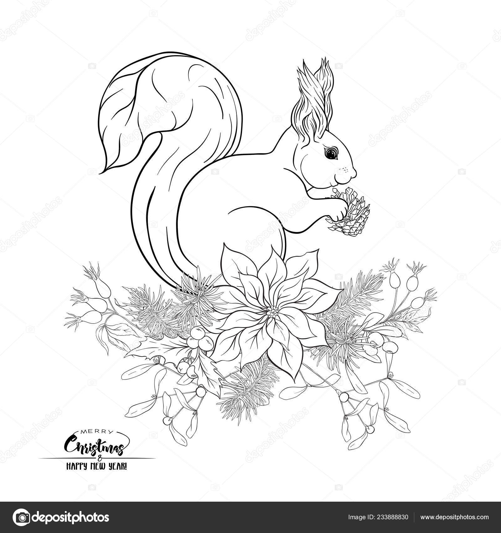 Squirrel Eating Pine Cone Sitting Christmas Wreath Outline Hand