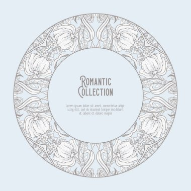 Floral pattern in art nouveau style, vintage, old, retro style. Template for invitation, greeting card banner, gift voucher with place for text. Vector illustration. In vintage blue and beige colors
