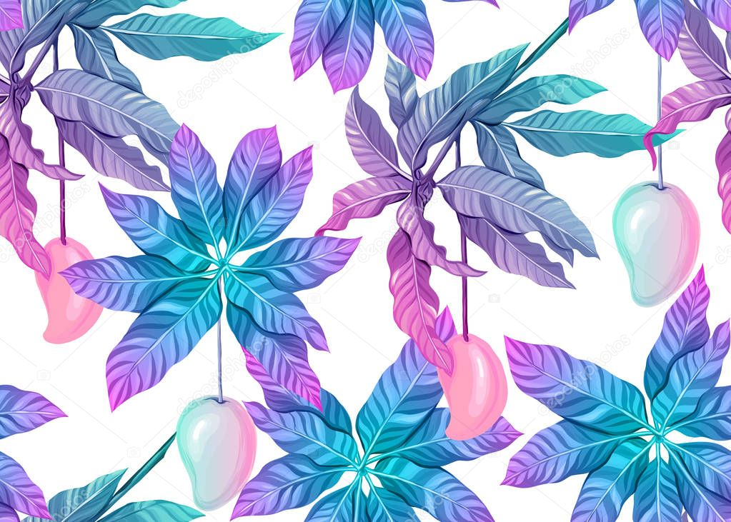 Seamless pattern, background with tropical plants,
