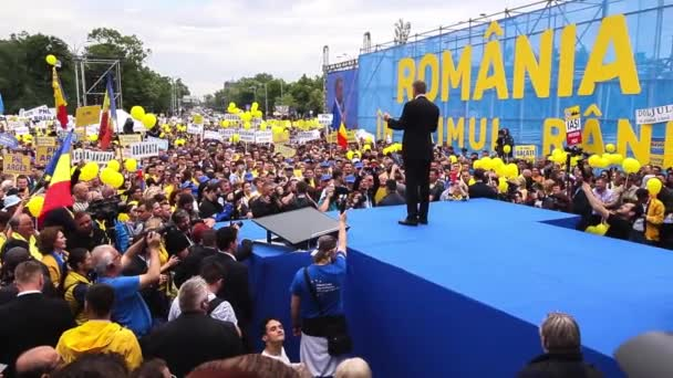 Bucharest, Romania - May 18, 2019: Klaus Iohannis, the president of Romania, speaks at the National Liberal Party rally for the European Parliamentary elections and for the anti-corruption referendum.