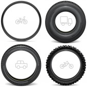 Fotografie Vector Vehicle Tires with Line Icons isolated on white background