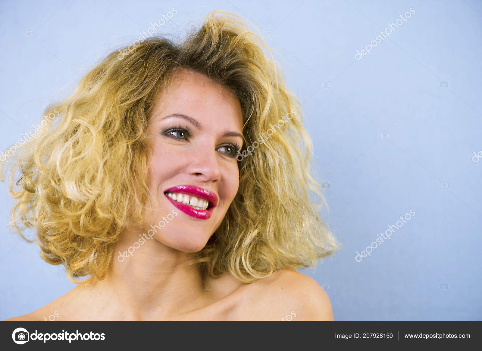 Face Pretty Girl Curly Hair Red Lips Closeup Stock Photo