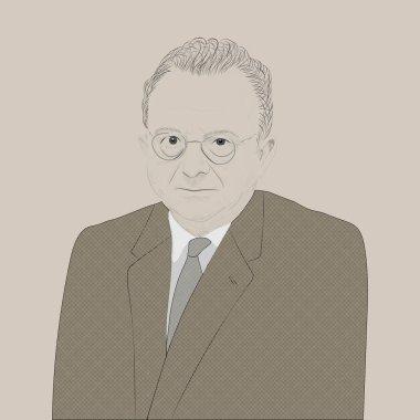 Portrait of Erich Fromm. German sociologist, philosopher, social psychologist, psychoanalyst, representative of the Frankfurt School