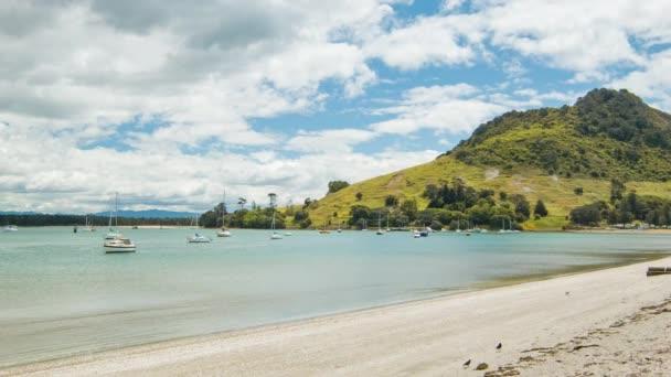 Tauranga Új-Zéland Harbour öbölben sok régióban a Mount Maunganui és a strand a nyár folyamán