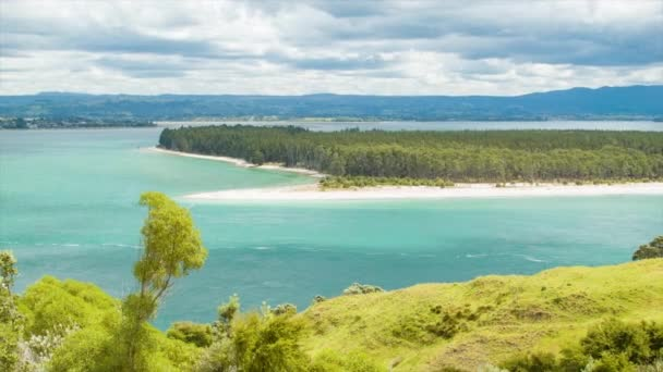 Tauranga New Zealand View of Harbor and Matakana Island from Mount Maunganui in the Bay of Plenty Region